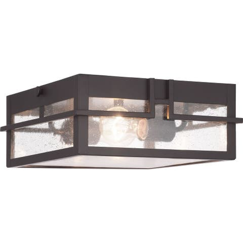 "Boxwood Collection Two-Light Outdoor Flush Mount - 8.370"" x 14.000"" x 13.250"""