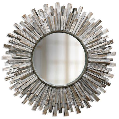 StyleCraft Natural Wooden 36-inch Round Sunburst Mirror