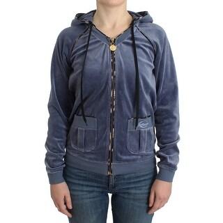 Cavalli Cavalli Blue Velvet Zipup Sweater - it42-m