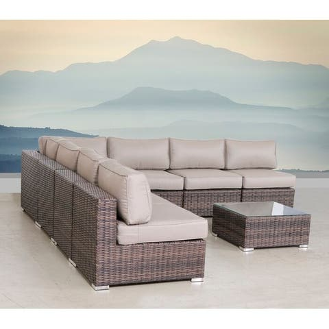 LSI Wicker/Rattan 8 Piece Seating Group with Sunbrella Cushions
