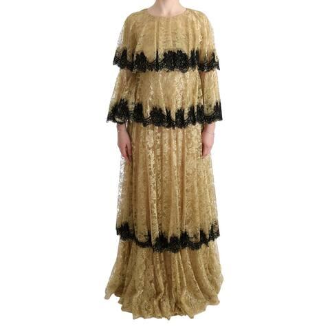 Dolce & Gabbana Gold Black Floral Lace Gown Women's Dress - it44-l