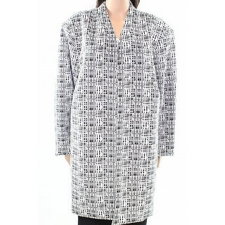 Calvin Klein NEW White Black Jacquard Knit 20W Plus Open-Front Jacket