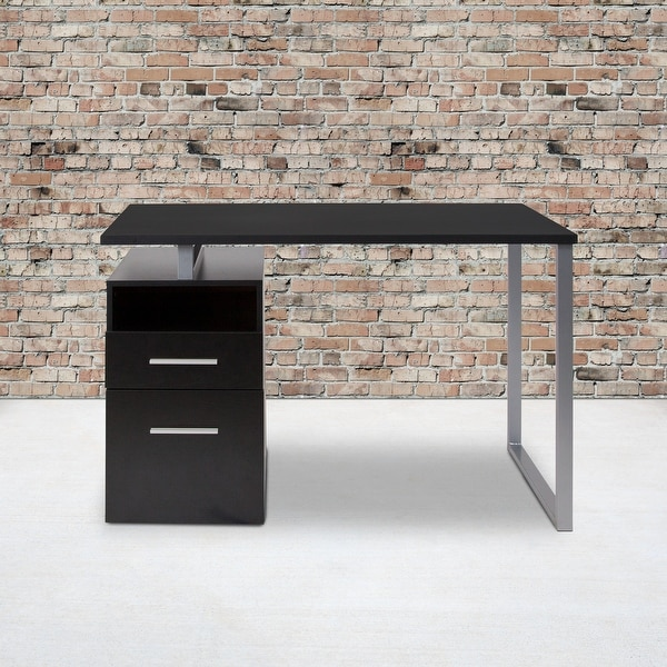 Computer Desk with Two Drawers and Metal Frame. Opens flyout.