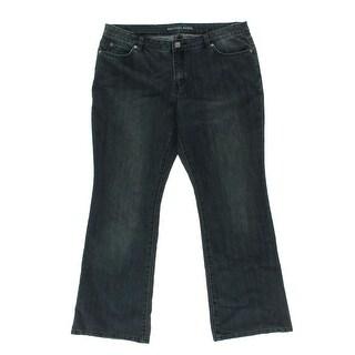 MICHAEL Michael Kors Womens Sausilito Dark Wash Low-Rise Bootcut Jeans