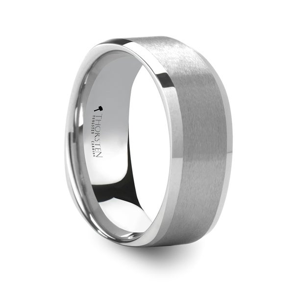 Sterling Square Shape White Tungsten Ring With Brush Finished Center