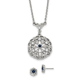 "Silvertone Downton Abbey Blue/Clear Crystal 16"" Necklace and Earring Set"