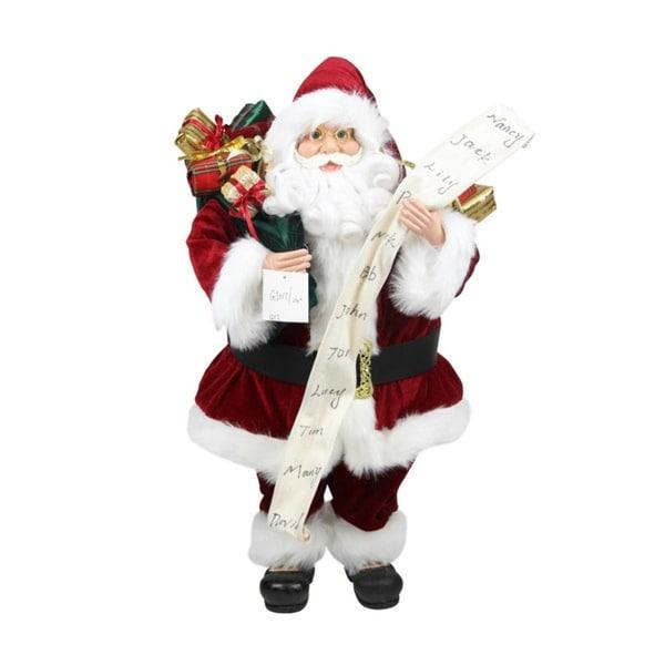 3' Standing Santa Claus with Naughty or Nice List and Bag of Presents Christmas Figure