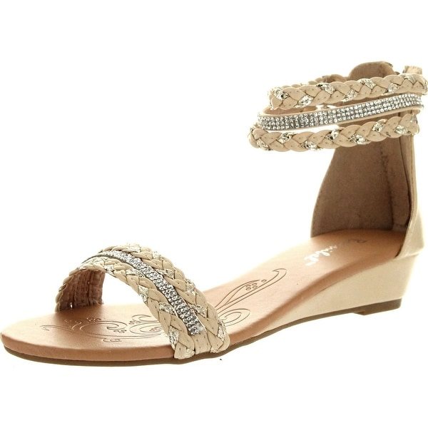 Bonnibel Womens Felice-1 Weave Strap Rhinestone Back Zipper Low Wedge Sandals