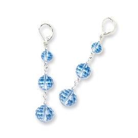 Silvertone Blue Crystal Dangle Post Earrings