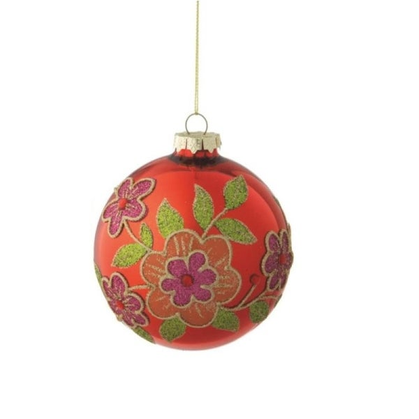 "Shiny Red Glass Ball Christmas Ornament with Colorful Flower Designs 3.5"" (90mm)"