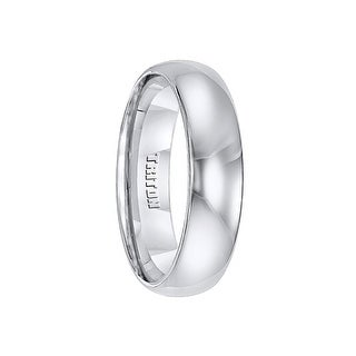 BYRON Domed White Tungsten Wedding Band with Polished Finish by Triton Rings - 6mm
