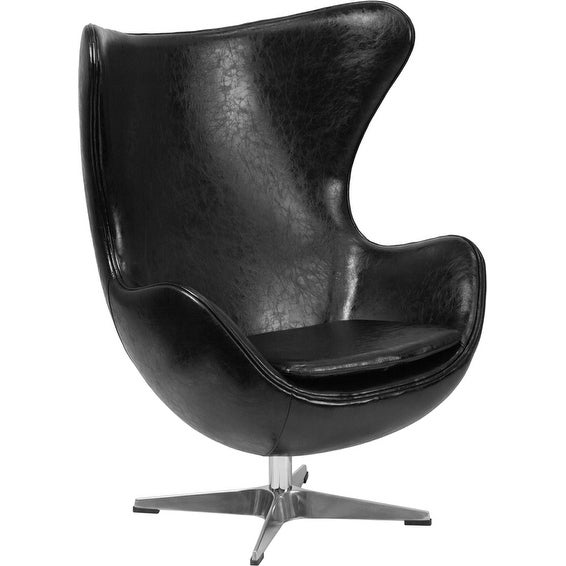 Chancellor Black Leather Modern Reception/Guest Egg Chair with Tilt-Lock Mechanism-FL5223