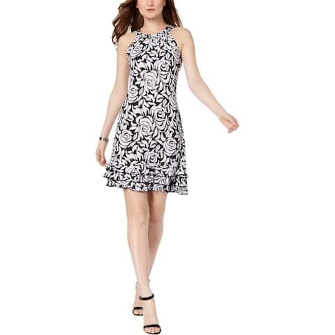 MSK Womens Party Dress Matte Jersey Printed - Black/White - XL