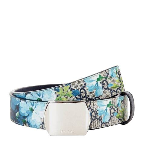 Gucci Unisex Silver Buckle Blue GG Supreme Coated Canvas Bloom Print Belt 424674 8499