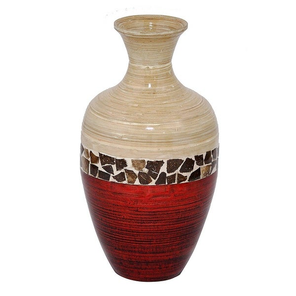 """20"""" Spun Bamboo Vase - Bamboo In Natural Bamboo And Metallic Red W/ Coconut Shell"""