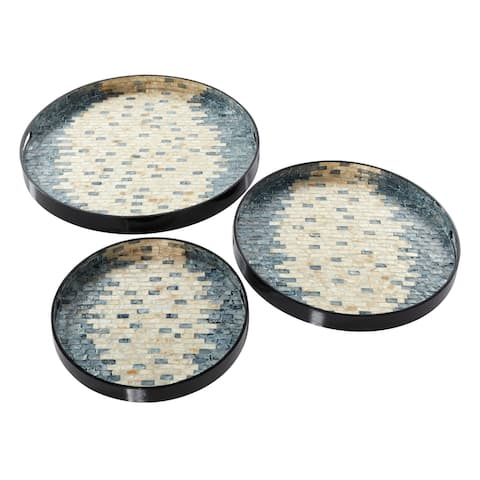 """Round Pearl and Blue Capiz Shell Serving Trays Set of 3 23"""" 19"""" 15"""" - 24 x 24 x 2Round"""