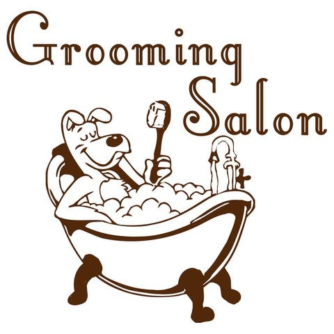 Dog Grooming Wall Decal, Pet Grooming Salon Vinyl Sticker, Puppy Pet Shop Decal, Grooming salon Vinyl Sticker