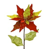 Pack of 4 Mixed Red and Green Pattern Leaf Pointsetta Stem 37""
