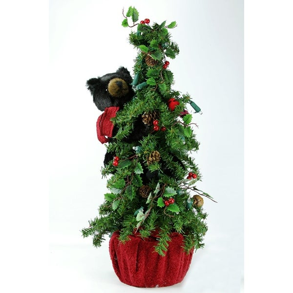 """22"""" Pre-Lit Battery Operated Alpine Artificial Christmas Tree with Black Bear - Clear LED Lights"""