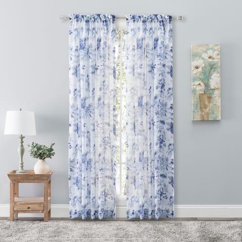 "Whimsical Semi-Sheer Floral Rod Pocket Curtain Panel 54""W x 63""L Grape - 54""W x 63""L"