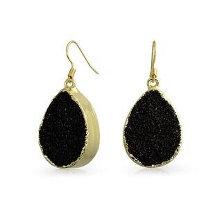 Bling Jewelry Gold Plated Brass Dyed Black Druzy Agate Teardrop Dangle Earrings