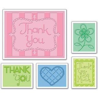 Sizzix Textured Impressions A2 Embossing Folders 5/Pkg-Thank You #3 - Red