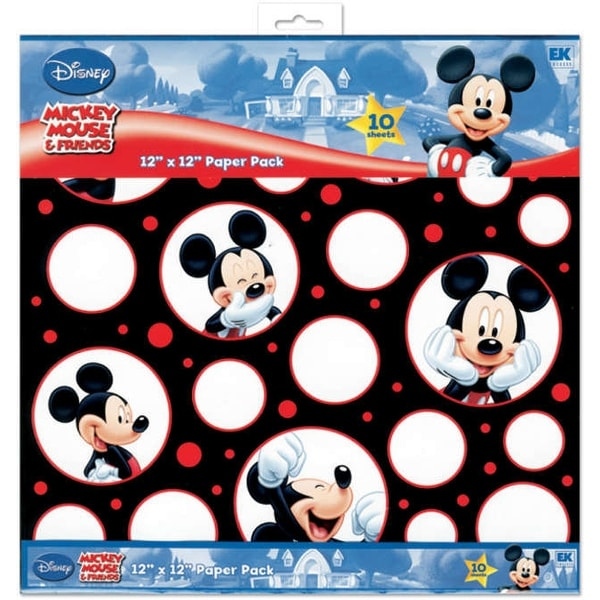 "Disney Paper Pack 12""X12"" 10/Pkg-Mickey Black, White & Red; 5 Designs/2ea"