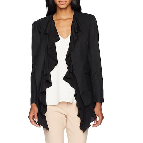 Nicole Miller Womens Blazer Deep Black Size Small S Ruffle Detail Wool