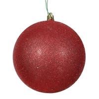 Vickerman  15.75 in. Red Glitter Drilled Cap Christmas Ornament Ball