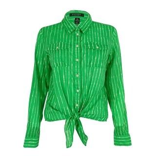Ralph Lauren Women's Tied Hem Striped Shirt - Green/White - pm
