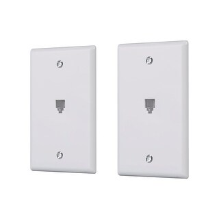 Monoprice Surface Phone Jack Plate - White (2 pack)