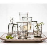 """Set of 4 Smoky Gray Decorative Floral Themed Highball Goblets 5.43"""""""