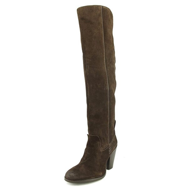 Mia Nigel Women Round Toe Leather Brown Over the Knee Boot