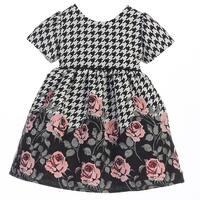 Sweet Kids Baby Girls Rose Print Houndstooth Jacquard Christmas Dress 6-24M