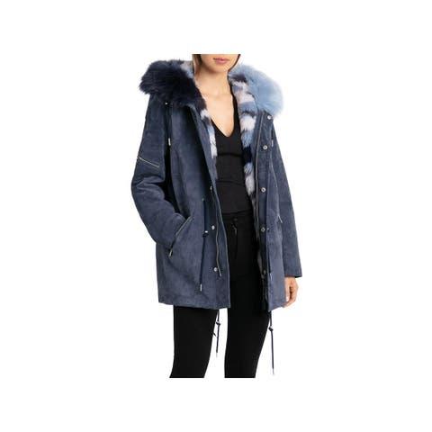 Bagatelle Womens Parka Coat Winter Suede - M