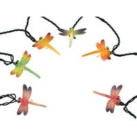 Set of 10 Multi-Color Dragonfly Summer Patio Novelty Christmas Lights Green Wire