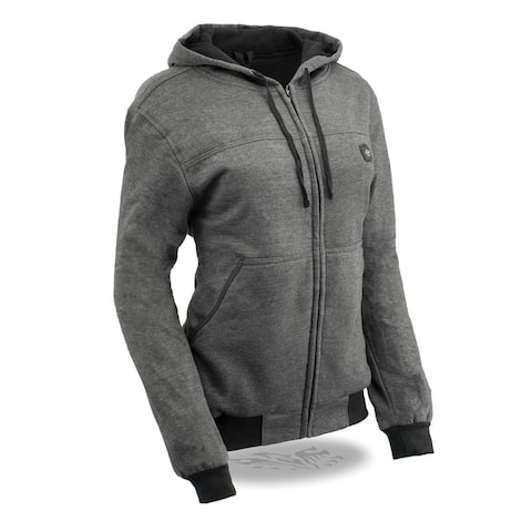Womens Grey Zipper Front Heated Hoodie w/ Front & Back Heating Elements