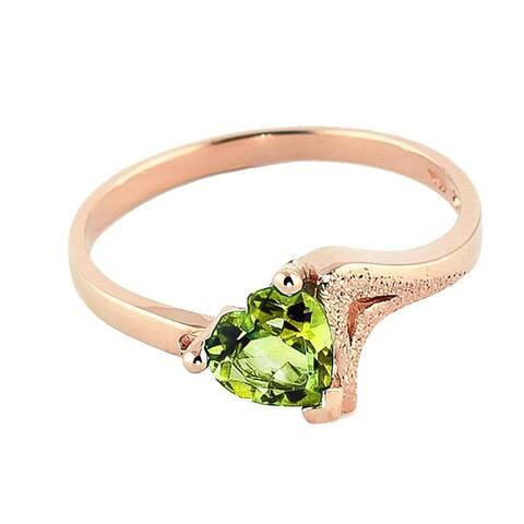 Classic Natural Green Peridot Ring 0.60 Carat 14k Solid Gold
