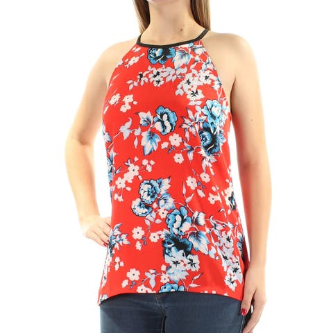 KENSIE Womens Red Zippered Floral Sleeveless Halter Top Size: S