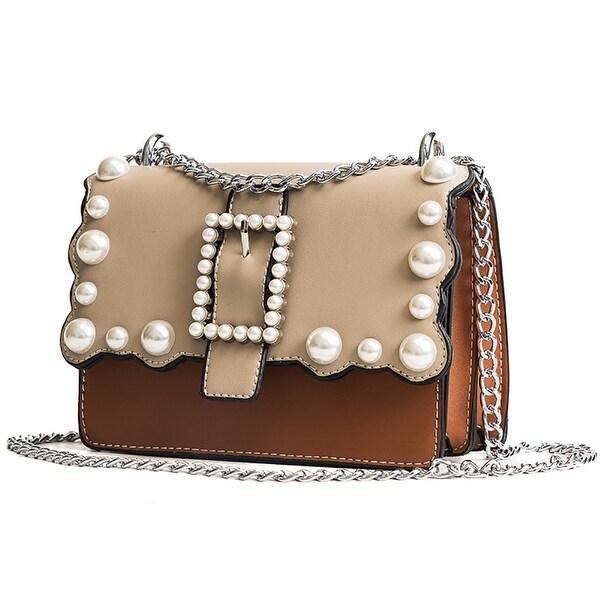 QZUnique Women  x27 s PU Leather Tote Bag Pearl Color Blocking Style Cross  Body ea09e40e469e