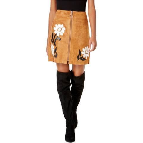 I-N-C Womens Suede Applique Mini Skirt, Brown, 16