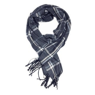 "Super Soft Luxurious Classic Cashmere Feel Winter Scarf - Navy -  72""x12"" with 13"" fringes"