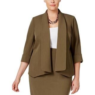 Kasper Womens Open-Front Blazer Ponte 3/4 Sleeves|https://ak1.ostkcdn.com/images/products/is/images/direct/40944eee0199e403b1a9054bdaef8ad88e1cbd5a/Kasper-Womens-Open-Front-Blazer-Ponte-3-4-Sleeves.jpg?impolicy=medium