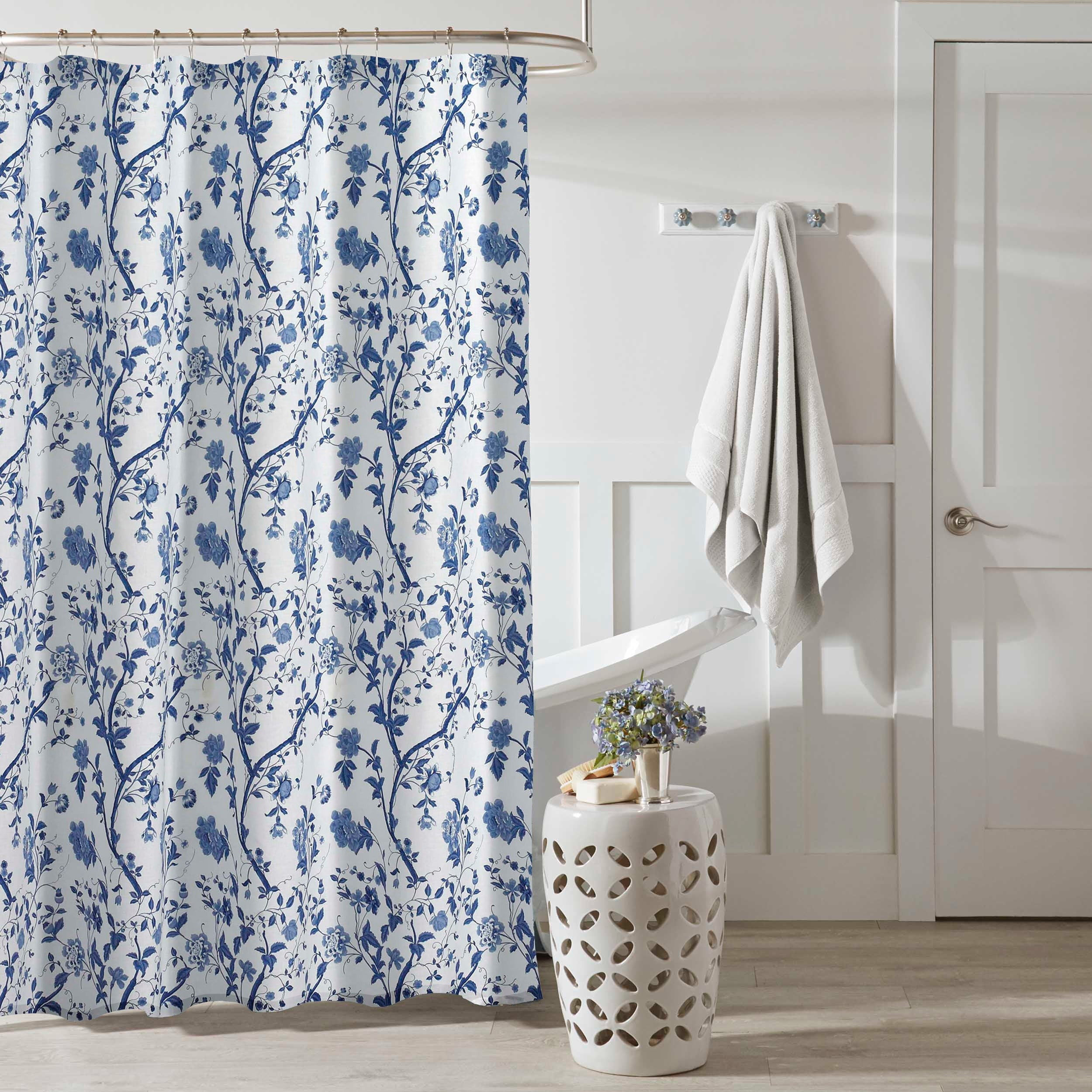 Laura Ashley Charlotte Blue Floral Shower Curtain 72 X 72 Overstock 12452841