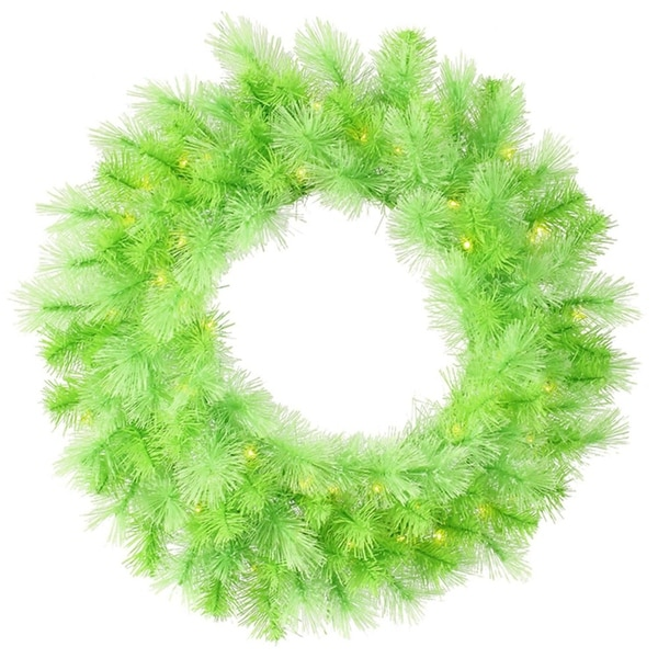 "30"" Pre-Lit Lime Green Cashmere Artificial Christmas Wreath - Clear Lights"