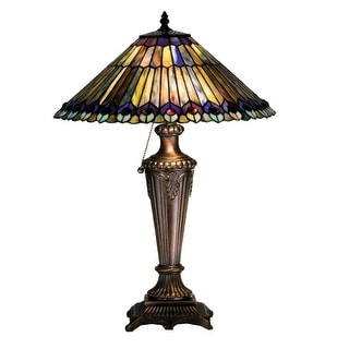 23 Inch H Tiffany Jeweled Peacock Table Lamp