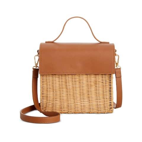 ALFANI Women's Brown Crochet Crochet Single Strap Crossbody Handbag Purse