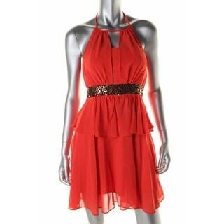 XOXO Womens Juniors Sequined Halter Cocktail Dress - 11/12