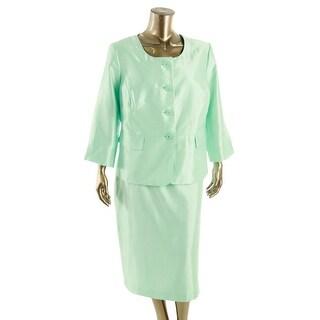 Le Suit Womens Plus The Hamptons Satin 3/4 Sleeves Skirt Suit