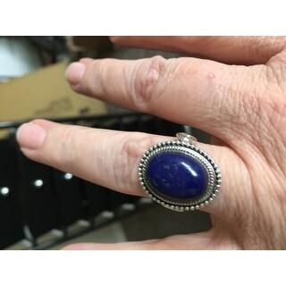 Handmade Sterling Silver 'Royal Blue Glow' Lapis Lazuli Ring (India)